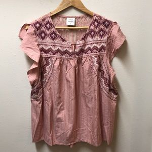 Knox Rose Embroidered Short Sleeve Top